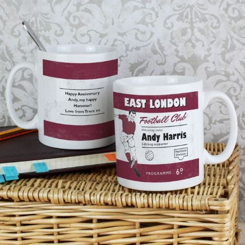 Personalised Vintage Claret and Blue Football Supporter's Mug